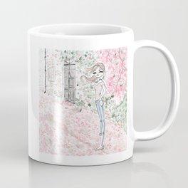 Sweet woman in a pink petal rain. Coffee Mug