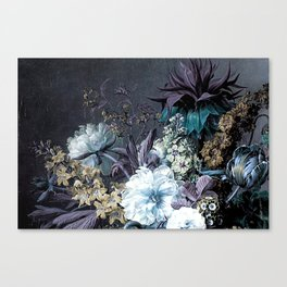 Taupe Turquoise Text Classic Floral Canvas Print