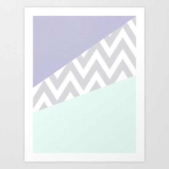mint & purple chevron color block TEXTURIZED Art Print