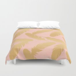 Boho Feather Pink Gold Duvet Cover