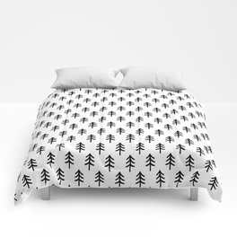 Hand drawn black and white tree Comforters