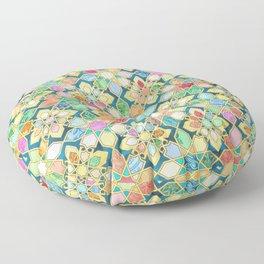 Gilded Moroccan Mosaic Tiles Floor Pillow