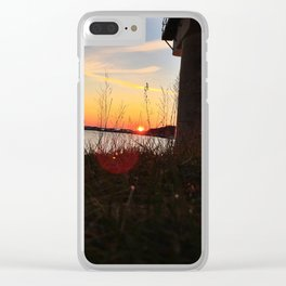 Spring Sunset Behind the Casco Bay Bridge Clear iPhone Case