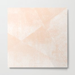 Peach/Apricot and White Geometric Triangles Lino Textured Print Metal Print