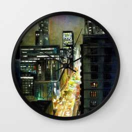Chicago At Night Watercolor Painting Wall Clock