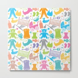 seamless pattern with baby icons Metal Print