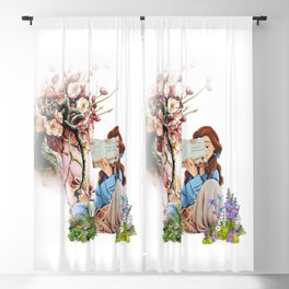 louieloidesign - belle reading Blackout Curtain