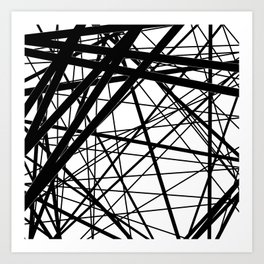 Abstract black and white . Line 2 . Art Print