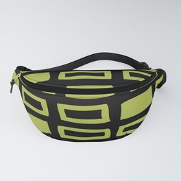 Mid Century Modern Abstract Squares Pattern 541 Black and Olive Green Fanny Pack