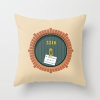 221b Throw Pillows featuring 221B Bag End by sirwatson