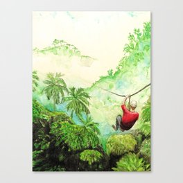 Zip-Line Watercolor Canvas Print