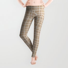 White and Brown Weave Pattern Leggings