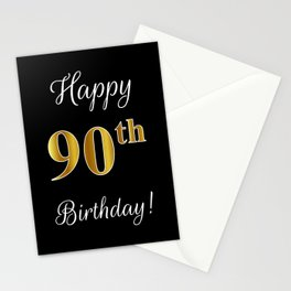 """Elegant """"Happy 90th Birthday!"""" With Faux/Imitation Gold-Inspired Color Pattern Number (on Black) Stationery Cards"""