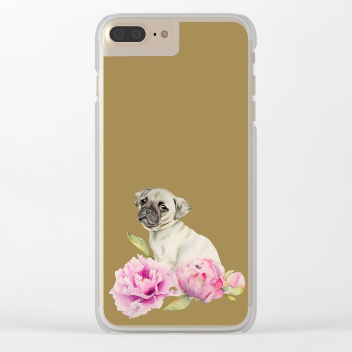 Pug and Peonies | Watercolor Illustration Clear iPhone Case