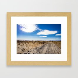 Lonely Dirt Road Cutting through the Barren Desert in the Anza Borrego Desert State Park Framed Art Print