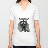 racoon V-neck T-shirts featuring Diabolical Racoon by Elise Cayouette