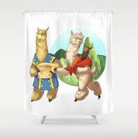 alpaca Shower Curtains featuring Alpaca Family by Nautilus Gifticus