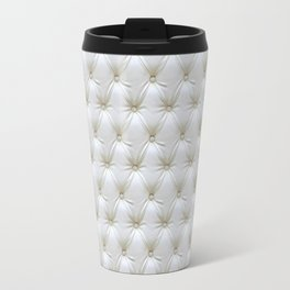 Faux White Leather Buttoned Travel Mug