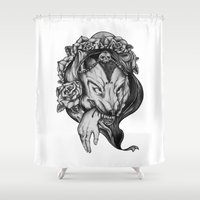 red riding hood Shower Curtains featuring Riding Hood by FLORA+FAUNA