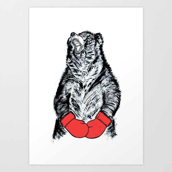 Boxing Bear Art Print