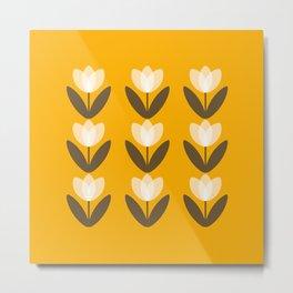 Tulip Field in Mustard Yellow Metal Print