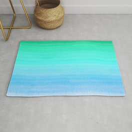 Blue, Teal, and Green Watercolor Horizontal Brush Gradient Line Pattern Rug