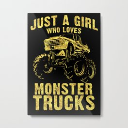 Just a GIRL who Loves MONSTER TRUCKS awesome black and yellow distressed style  Metal Print