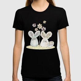 Pastel easter eggs and bunnys I T-shirt