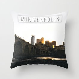 Minneapolis Skyline Sunset Throw Pillow