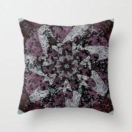 Dot Fourier Fractal Mandala Throw Pillow