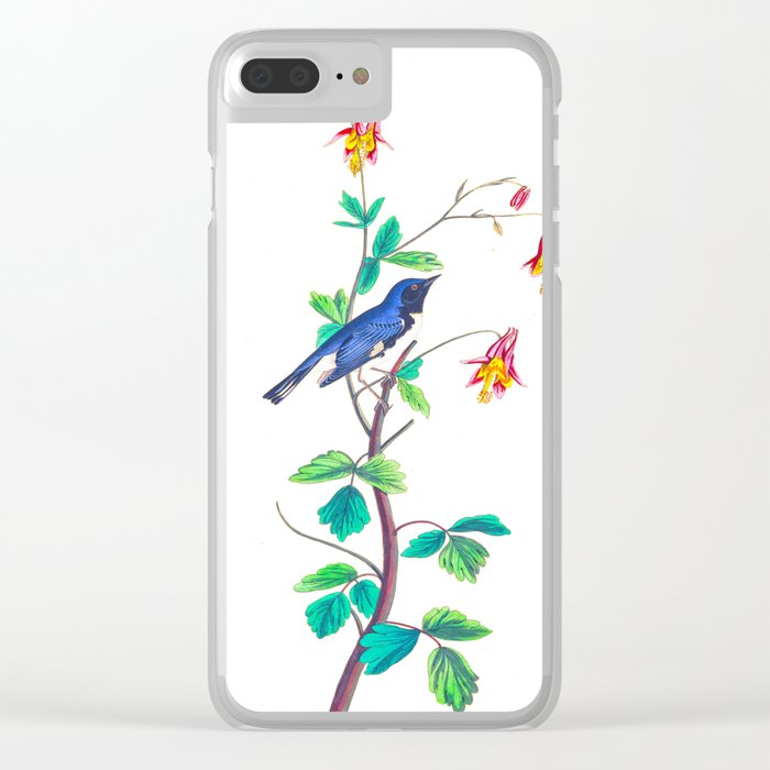 Blue Birds & Pastel Turquoise Leaves Clear iPhone Case