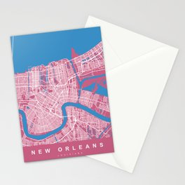 New Orleans Map Louisiana - US | Pink Colors Stationery Cards