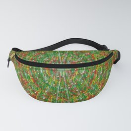Abstract Green Red Yellow and White Fanny Pack