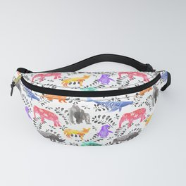 Endangered Animals Watercolor Pattern Fanny Pack