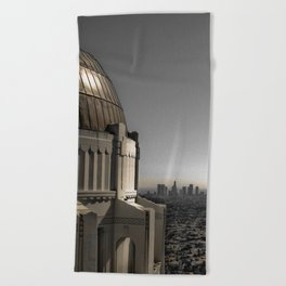 Griffith Park Observatory with Downtown LA Skyline Beach Towel