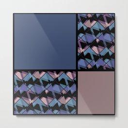 Blue brown patchwork Metal Print