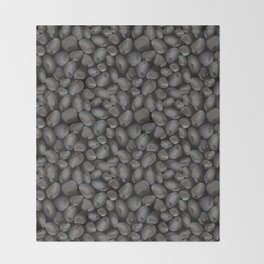 Dark glossy pebbles Throw Blanket