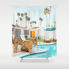 Tigers at the Pool Shower Curtain