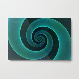 Magical Teal Green Spiral Design Metal Print