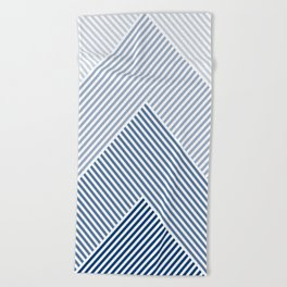 Shades of Blue Abstract geometric pattern Beach Towel