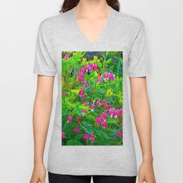 GREEN SPRING GARDEN PINK BLEEDING HEARTS Unisex V-Neck