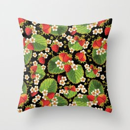 Strawberries Botanical Throw Pillow