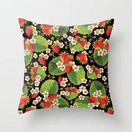 Strawberries Botanical Throw Pillow