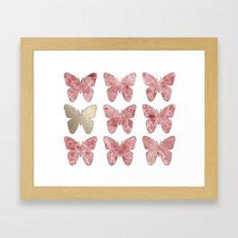 Golden rosy mauve butterflies Framed Art Print