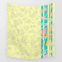 Yellow Cherry Blossom Stripe Wall Tapestry