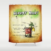 vodka Shower Curtains featuring Bloody Mary by jamfoto