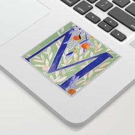 Monogram letter M Citrus Grove Initial Watercolor Sticker