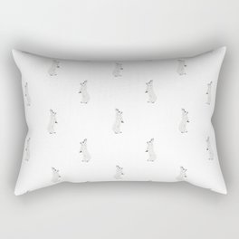 Hare repeat pattern in a stippling style in grey Rectangular Pillow