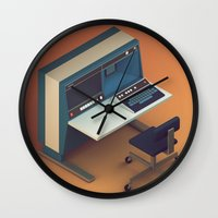 computer Wall Clocks featuring Vintage Computer by Michiel van den Berg