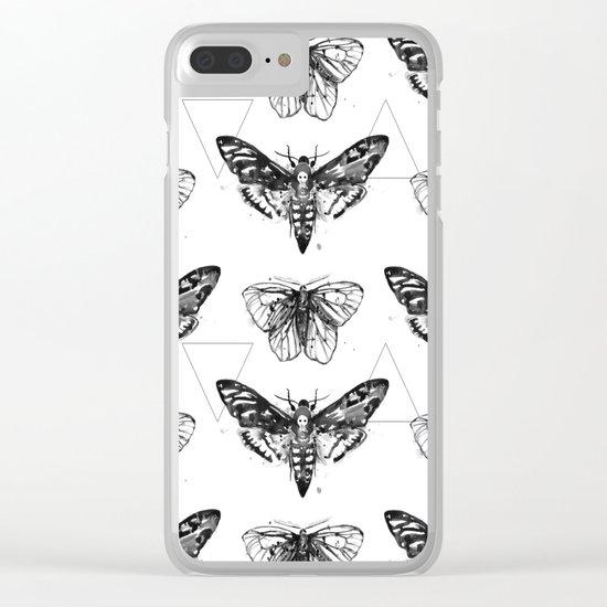 Geometric Moths Clear iPhone Case